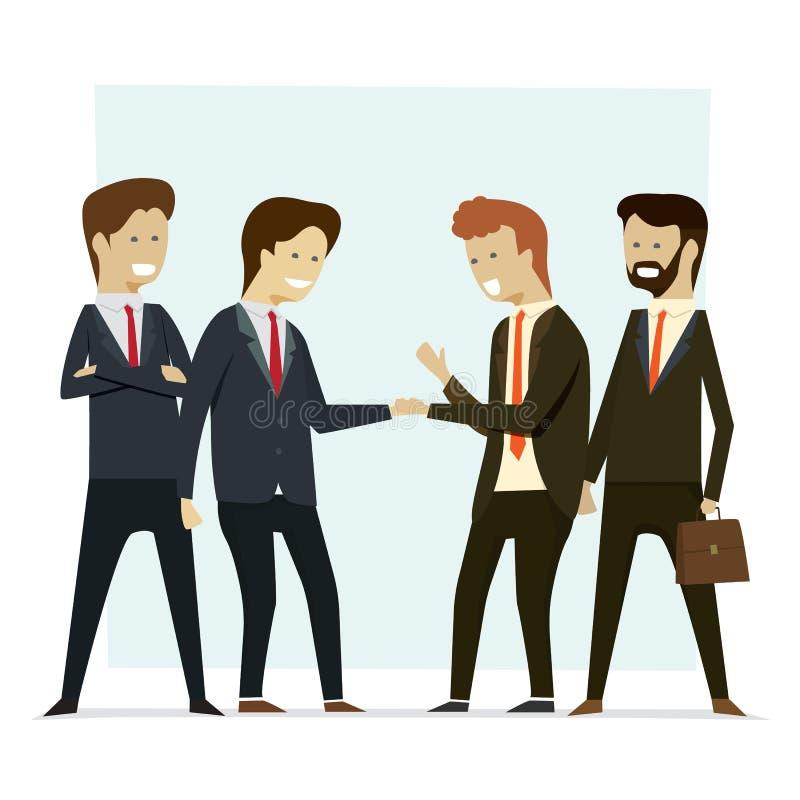 Hombres de negocios del grupo que sacuden a socios de las manos Vector Illustratio stock de ilustración