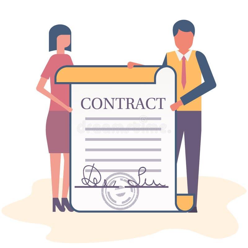 Hombres de negocios del hombre y mujer que llevan a cabo un contrato ilustración del vector