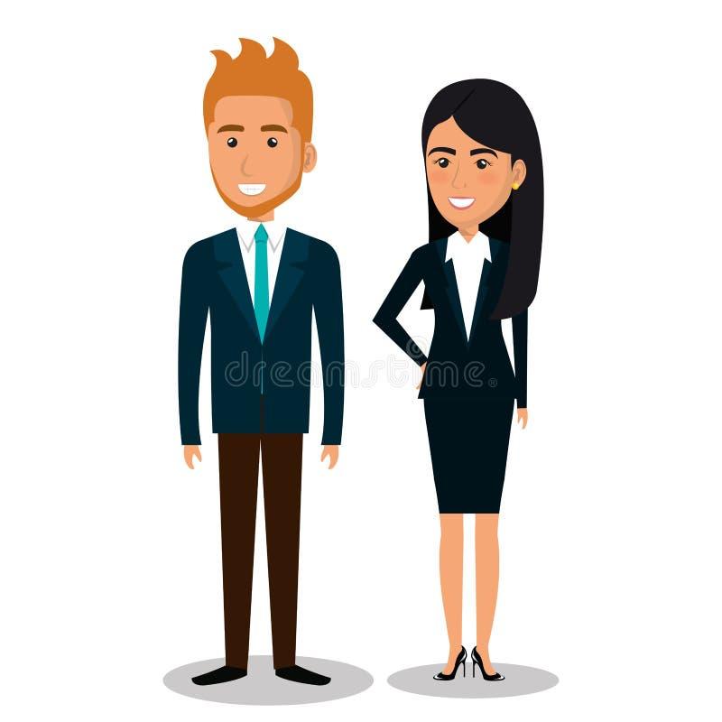 hombres de negocios del icono de los avatares stock de ilustración