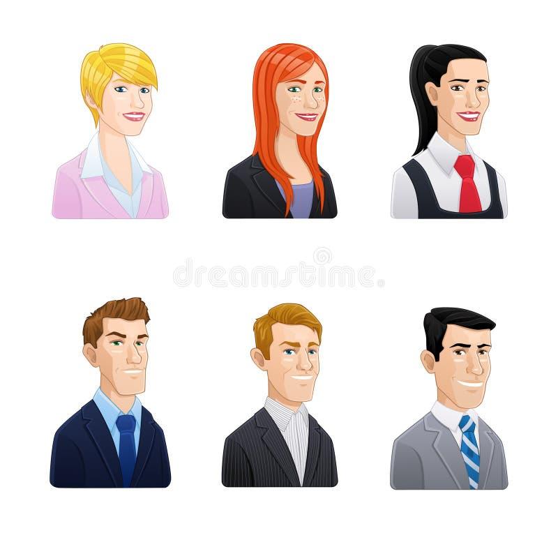 Hombres de negocios del icono de los avatares fijado - estilo de la historieta libre illustration