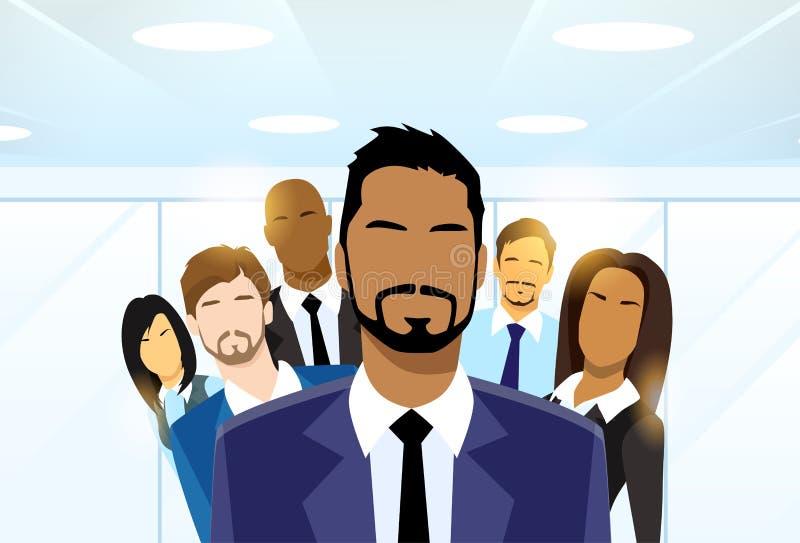 Hombres de negocios del líder Diverse Team del grupo stock de ilustración