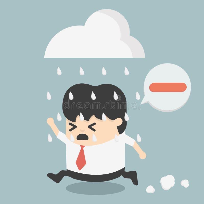 Hombres de negocios del pensamiento de la negativa ilustración del vector