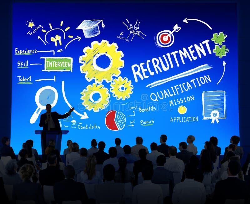 Hombres de negocios del seminario del reclutamiento del concepto de la presentación imagenes de archivo
