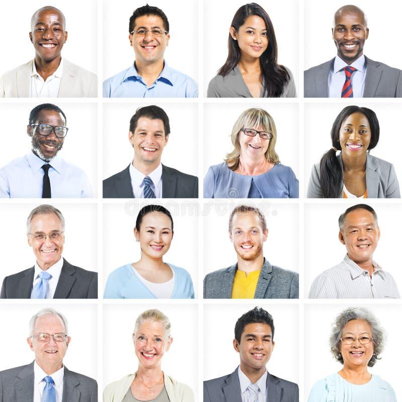 Hombres de negocios del sistema corporativo del concepto de las caras fotografía de archivo libre de regalías