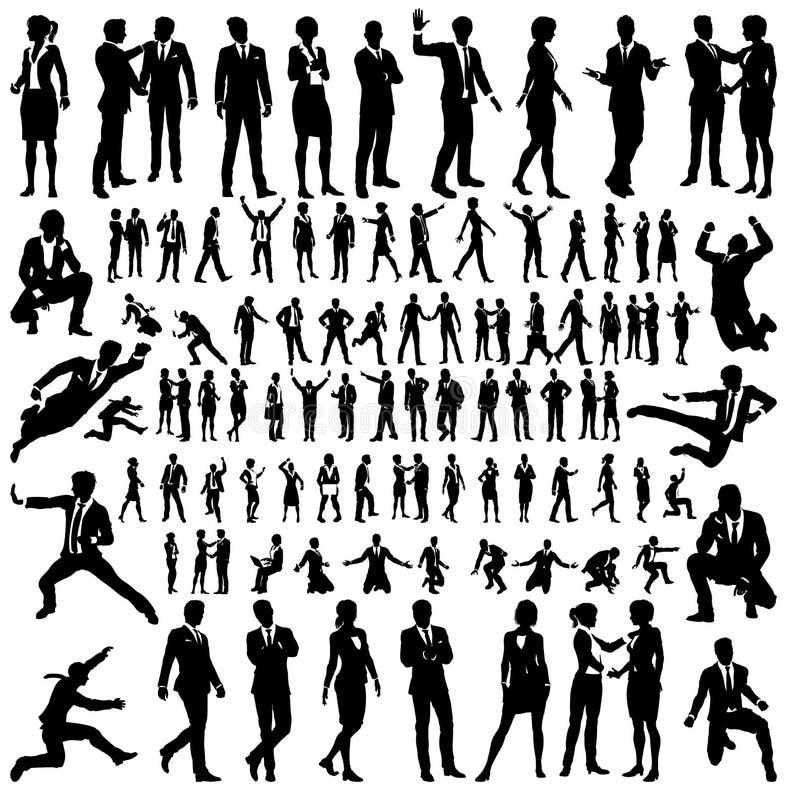 Hombres de negocios del sistema grande de las siluetas stock de ilustración