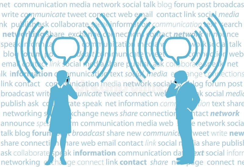 Hombres de negocios del smartphone G4 WiFi de la red del social stock de ilustración