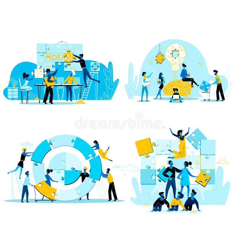 Hombres de negocios del trabajo en equipo, cooperación para el éxito stock de ilustración