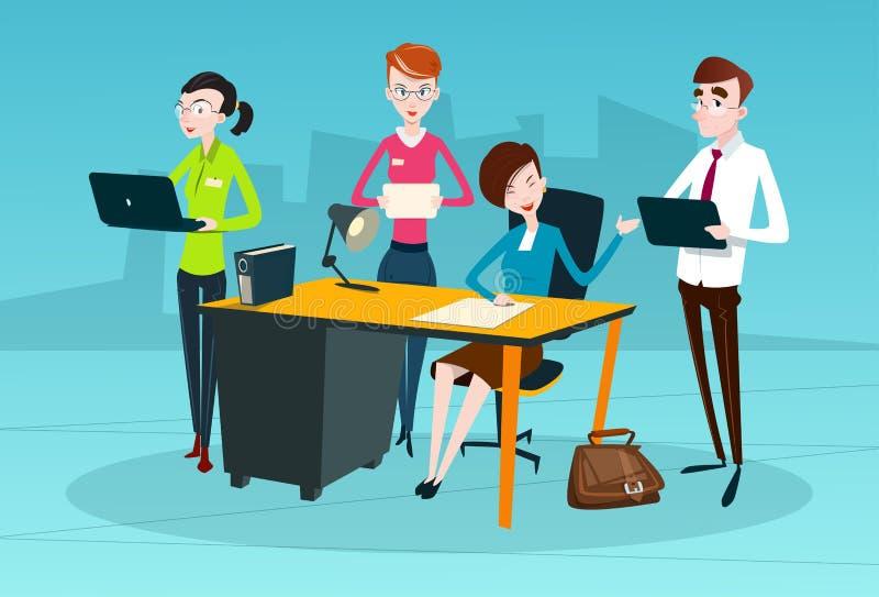 Hombres de negocios del trabajo en equipo de Team Boss Businesswoman Manager Sit stock de ilustración