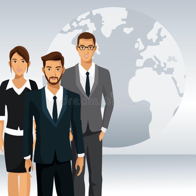 Hombres de negocios del trabajo en equipo del international del globo ilustración del vector