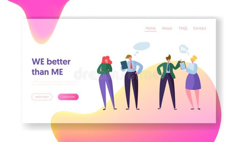 Hombres de negocios del trabajo en equipo de la comunicación de la página del aterrizaje Comunidad corporativa Team Character Con ilustración del vector