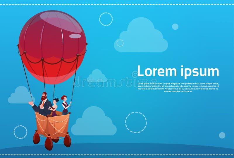 Hombres de negocios del vuelo del grupo en concepto del inicio del éxito del balón de aire ilustración del vector