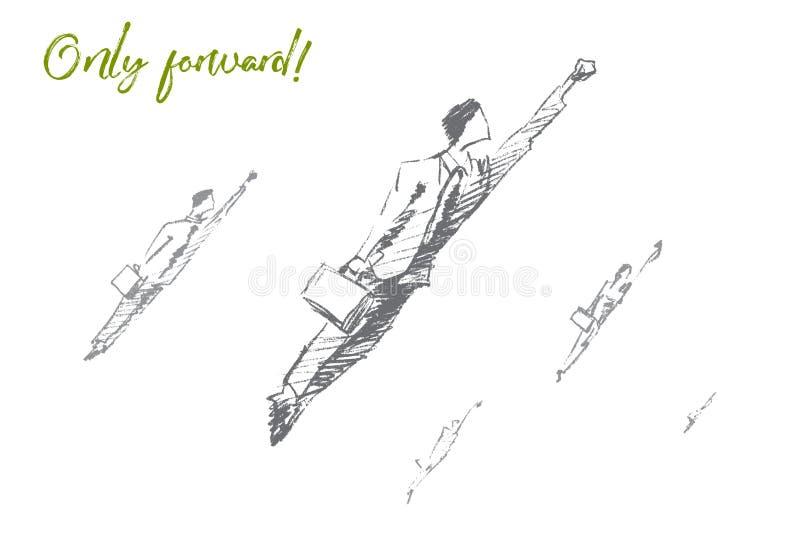 Hombres de negocios dibujados mano que saltan adelante al éxito ilustración del vector