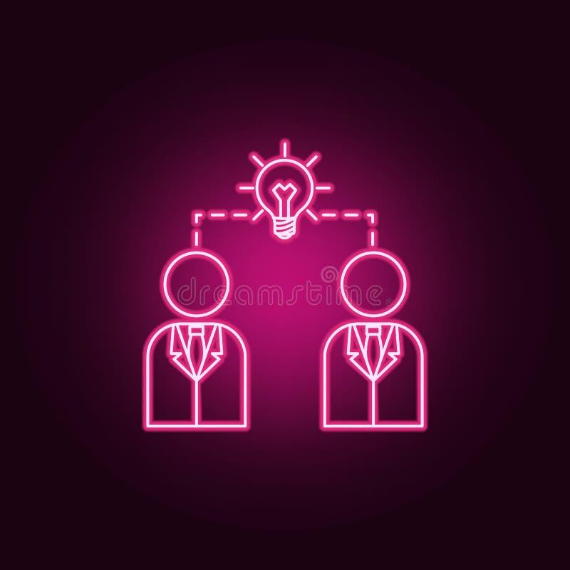 Hombres de negocios e icono de neón de conexión de la bombilla Elementos del sistema de la idea Icono simple para las p?ginas web stock de ilustración