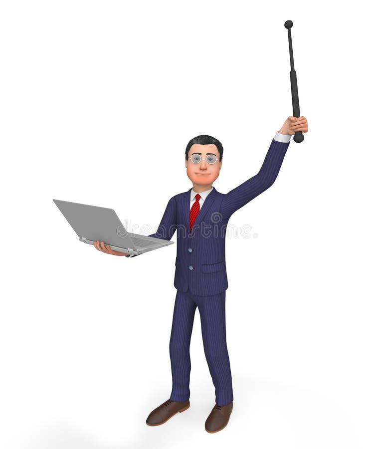 Hombres de negocios ejecutivo y monitor de Holding Laptop Means del hombre de negocios stock de ilustración