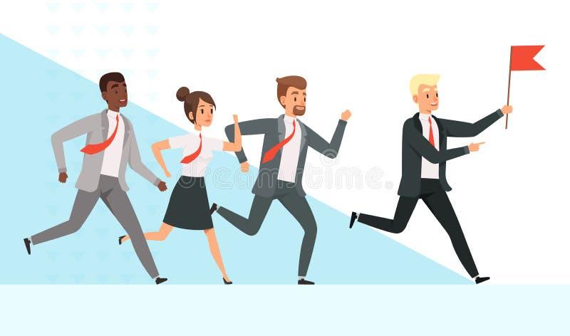 Hombres de negocios el ejecutarse Los encargados de los trabajadores hembra-varón van con su dirección de la mano de la bandera r stock de ilustración