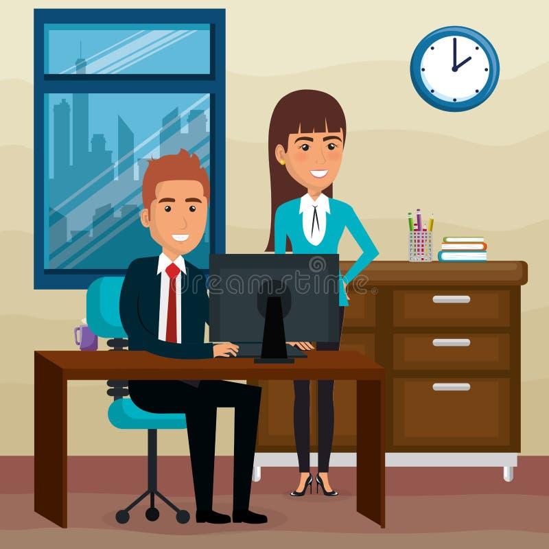 Hombres de negocios elegantes en la escena de la oficina stock de ilustración