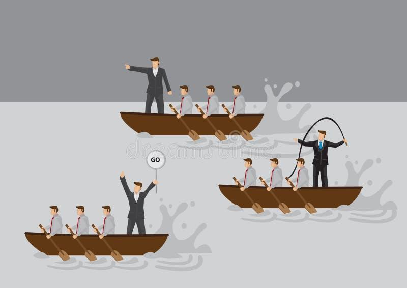 Hombres de negocios en el barco que rema el ejemplo de la historieta del vector de la competencia ilustración del vector