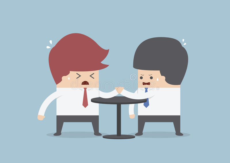 Hombres de negocios en el pulso, concepto de la competencia del negocio stock de ilustración