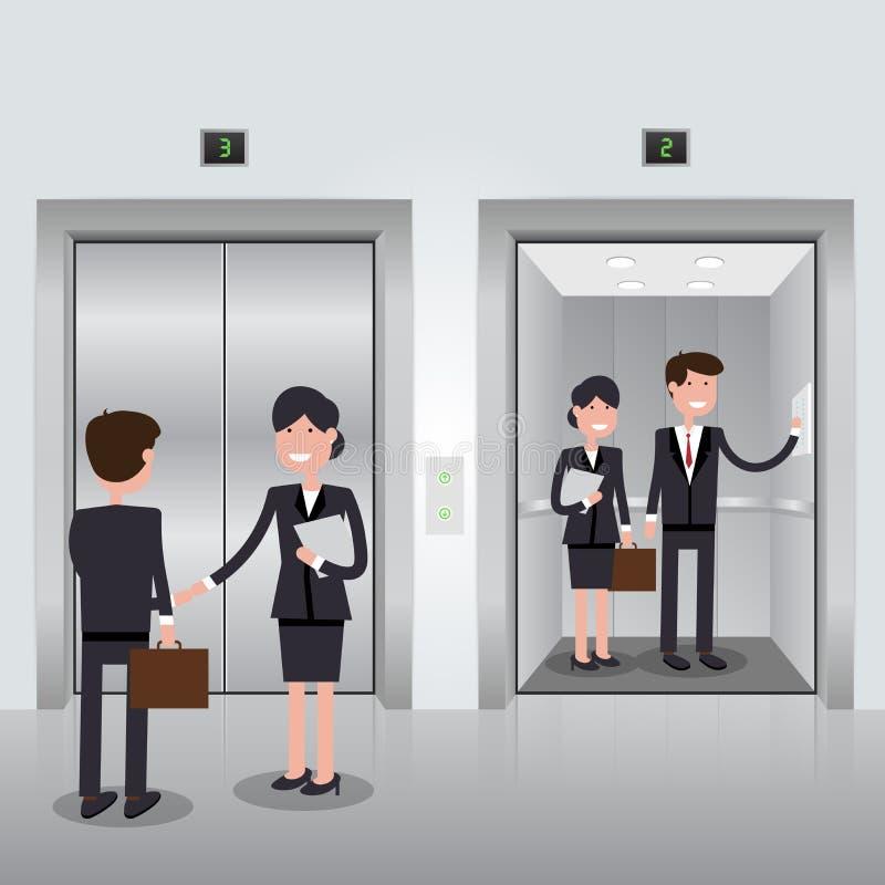 Hombres De Negocios En Elevador Del Edificio De Oficinas