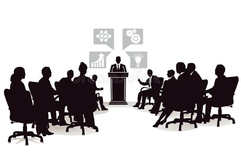 Hombres de negocios en la conferencia stock de ilustración