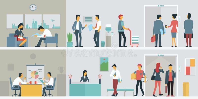 Hombres de negocios en oficina stock de ilustración