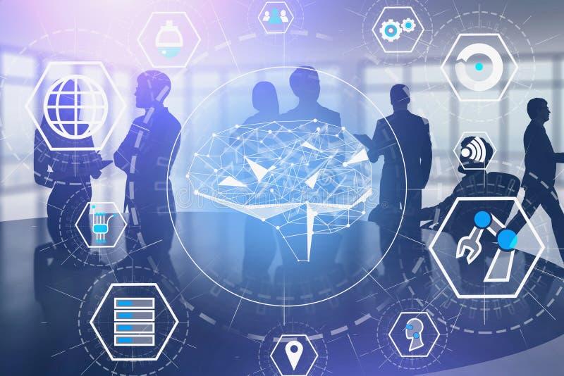 Hombres de negocios en oficina, interfaz del AI y de IOT libre illustration