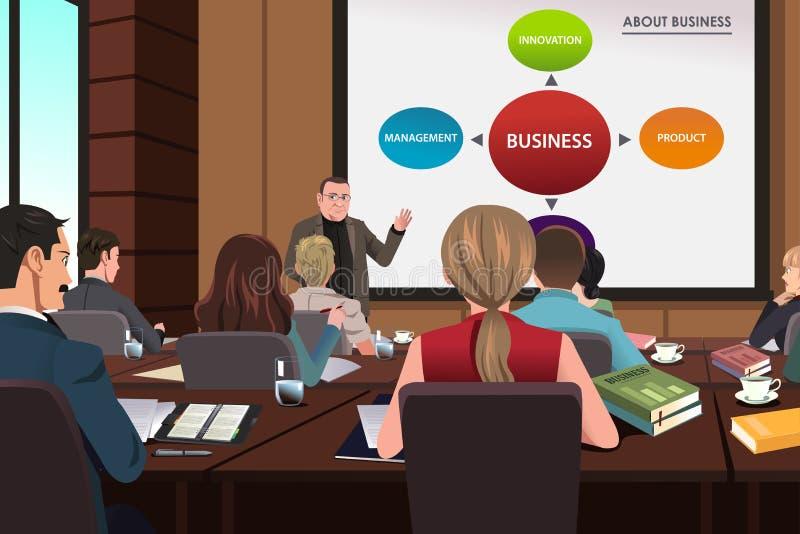 Hombres de negocios en un seminario stock de ilustración