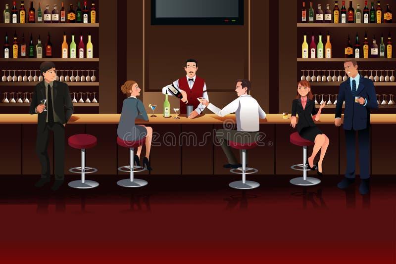 Hombres de negocios en una barra stock de ilustración