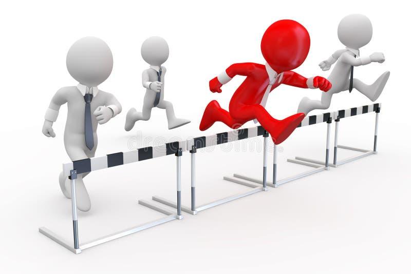 Hombres de negocios en una carrera de vallas ilustración del vector