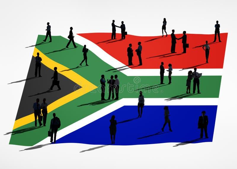 Hombres de negocios en una reunión con la bandera de Suráfrica libre illustration