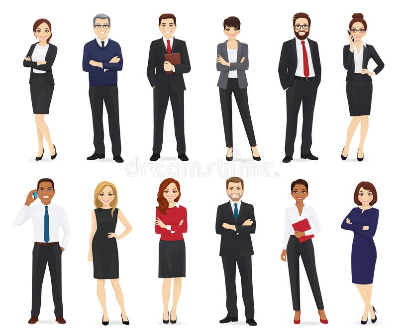 Hombres de negocios fijados stock de ilustración