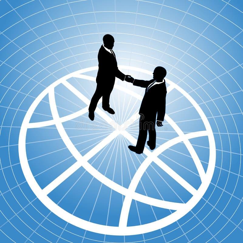 Hombres de negocios globales del acuerdo del globo del apretón de manos ilustración del vector