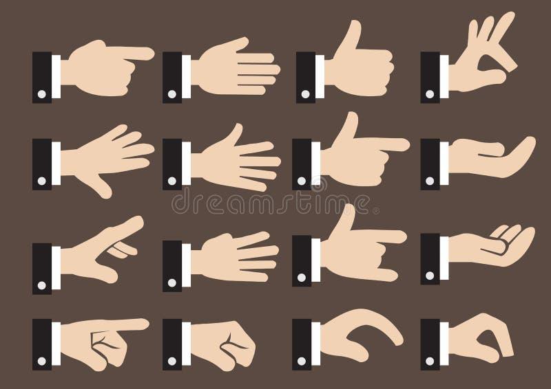24 hombres de negocios Hand Signs y sistema del icono del vector de los gestos stock de ilustración