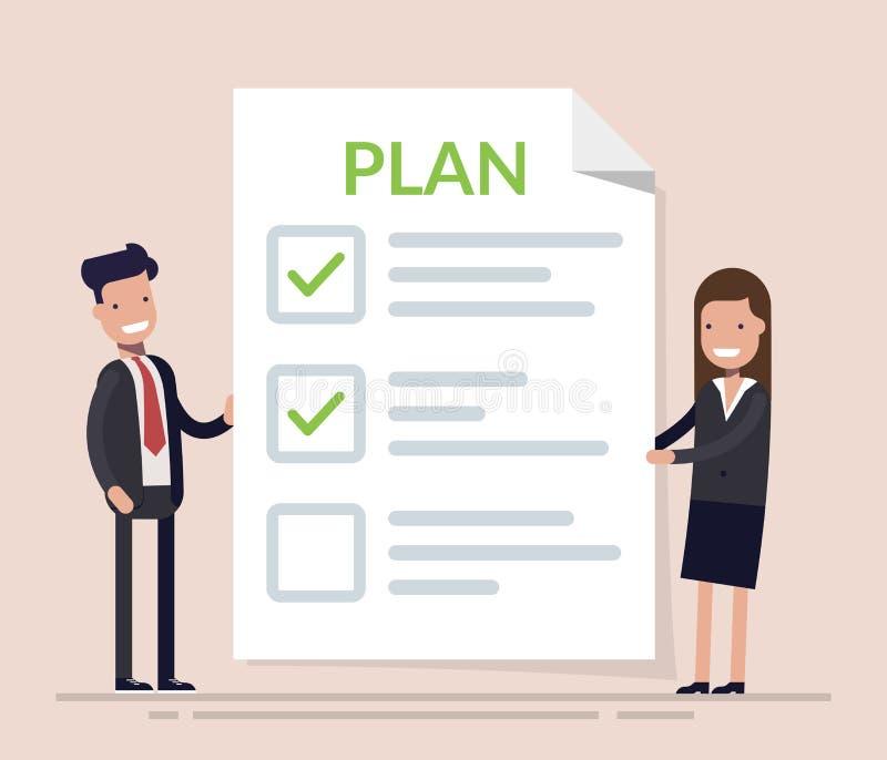 Hombres de negocios, hombre y mujer colocándose con el tablero y el plan empresarial grandes del concepto de la lista de control  libre illustration