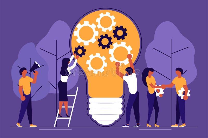Hombres de negocios, hombre y mujer construyendo una nueva idea ilustración del vector