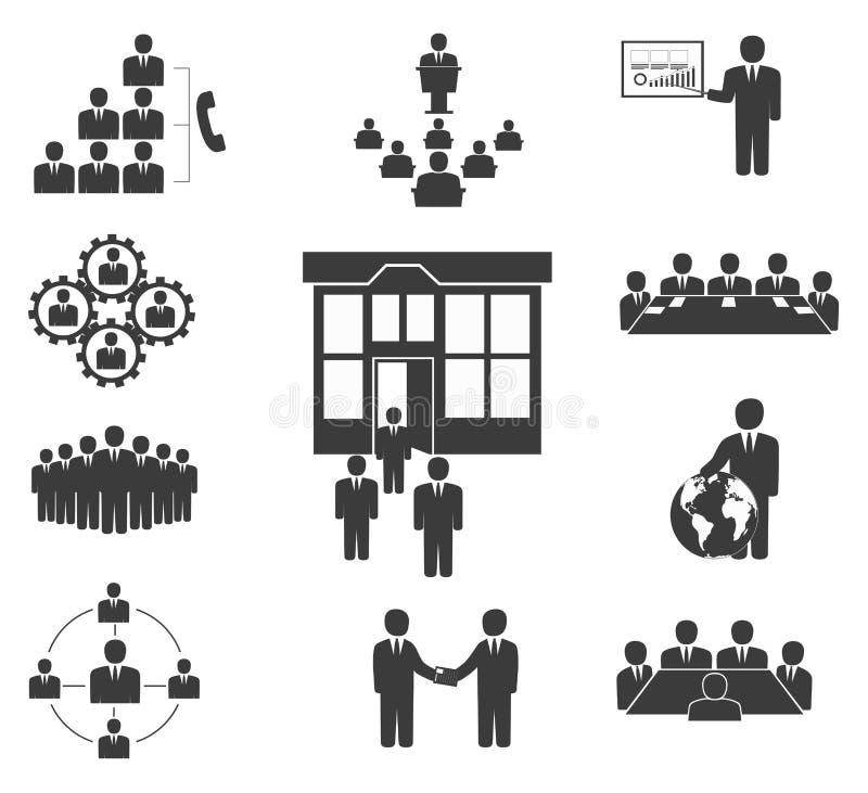 Hombres de negocios. Iconos de la oficina, conferencia ilustración del vector