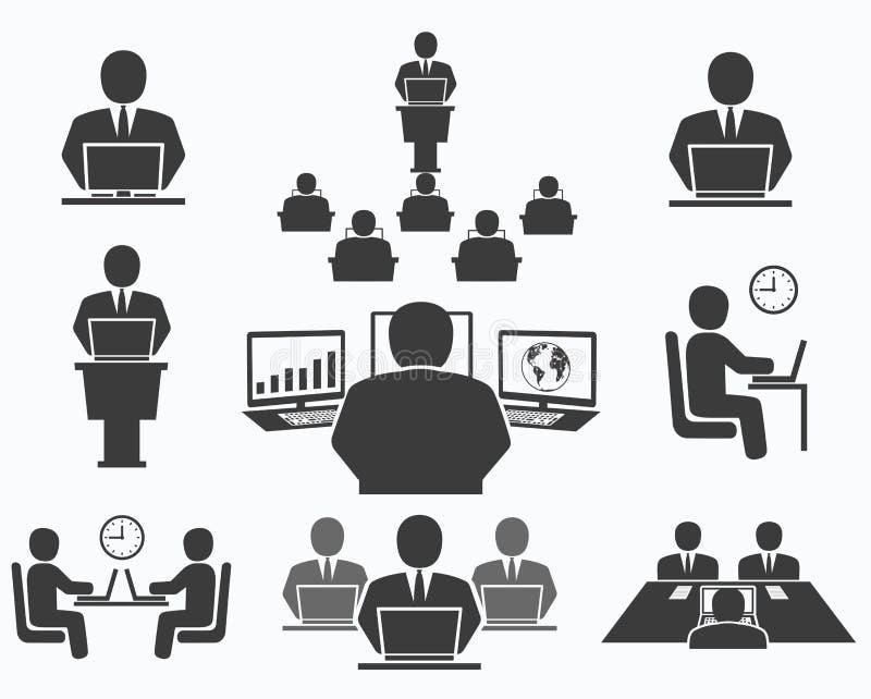 Hombres de negocios Iconos de la oficina, conferencia, trabajo del ordenador libre illustration