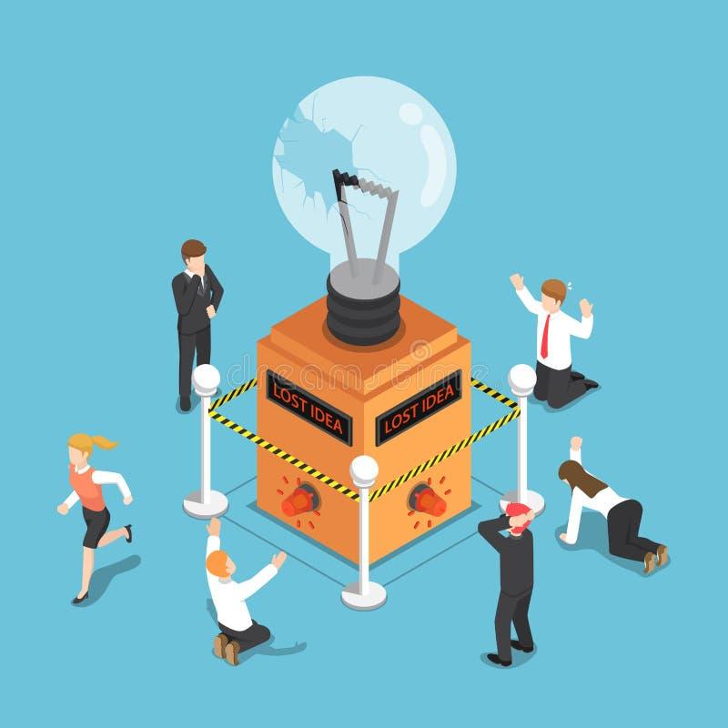 Hombres de negocios isométricos chocados cuando la bombilla de la idea es presa ilustración del vector
