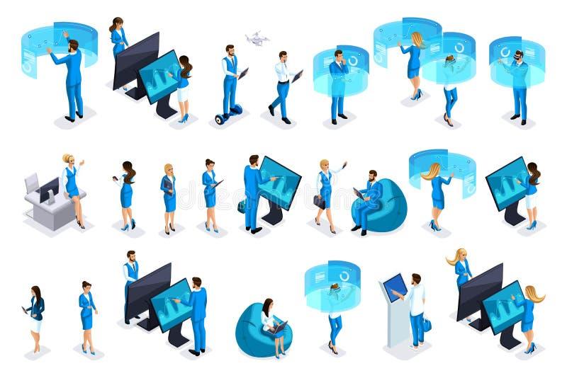 Hombres de negocios isométricos con los artilugios, trabajo sobre las pantallas virtuales, diseño de negocio hermoso Vista delant libre illustration