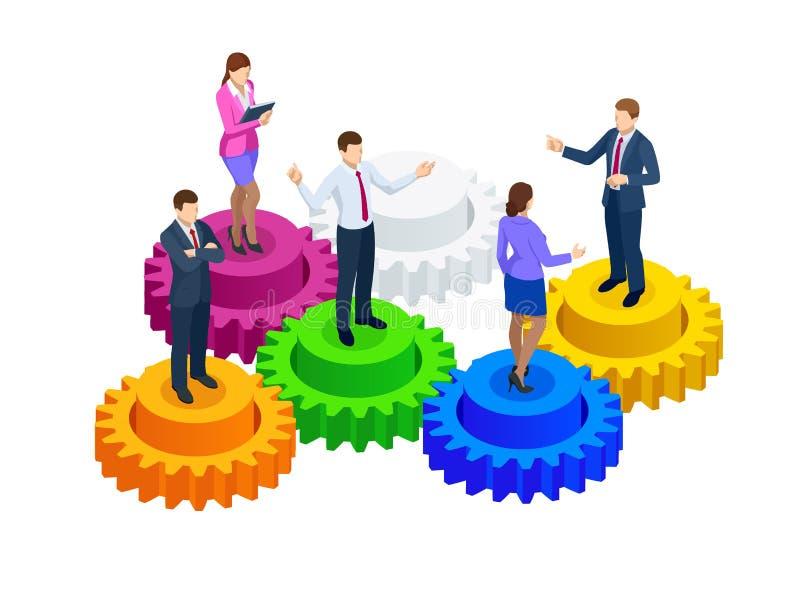 Hombres de negocios isométricos en concepto de los engranajes, de la colaboración y del trabajo en equipo stock de ilustración