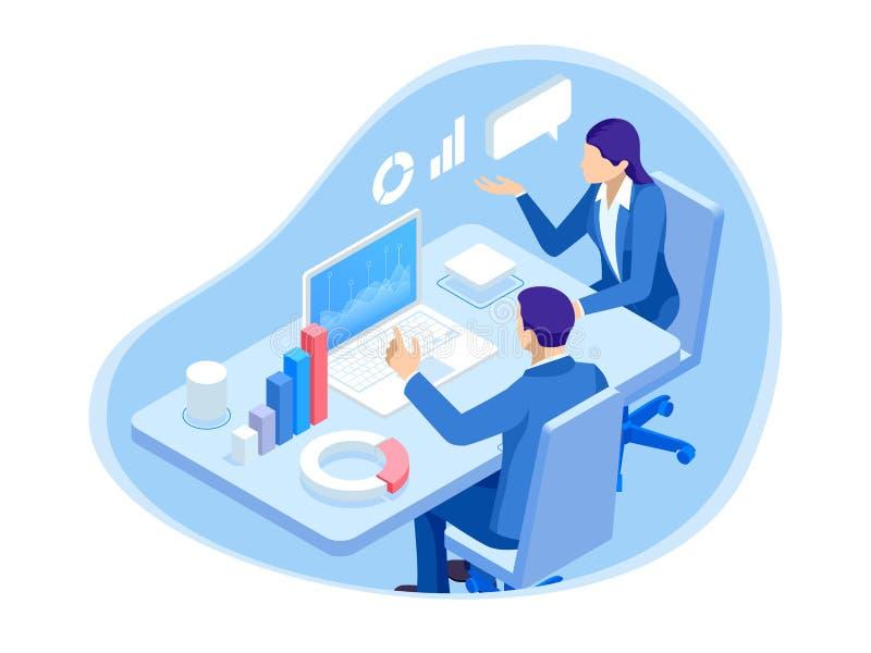 Hombres de negocios isométricos de los caracteres An?lisis de datos Trabajo en equipo y sociedad Hombres de negocios del trabajo  stock de ilustración