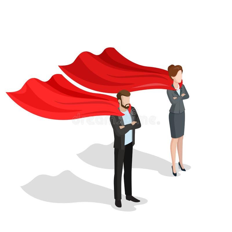 Hombres de negocios isométricos planos del super héroe de la capa del rojo stock de ilustración
