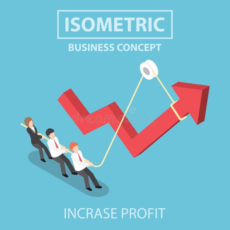 Hombres de negocios isométricos que levantan el gráfico de la flecha usando cuerda ilustración del vector