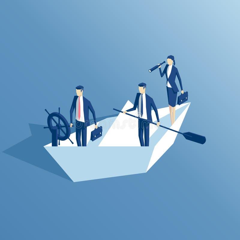 Hombres de negocios isométricos y barco de papel stock de ilustración