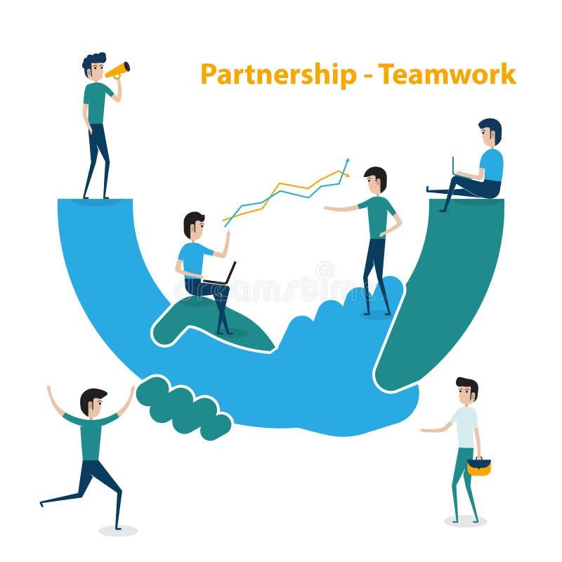 Hombres de negocios de la cooperación del trabajo en equipo y concepto de la sociedad megabus libre illustration