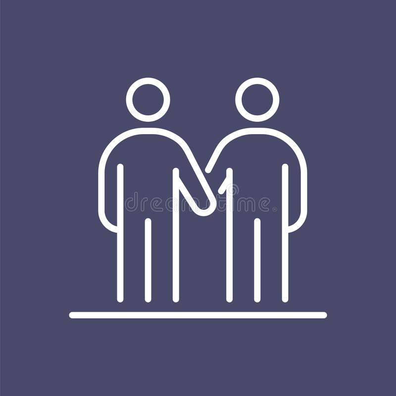 Hombres de negocios de la línea simple ejemplo plano del icono del apretón de manos de los amigos libre illustration