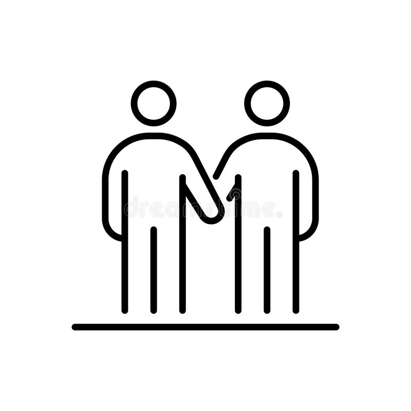 Hombres de negocios de la línea simple ejemplo plano del icono del apretón de manos de los amigos ilustración del vector