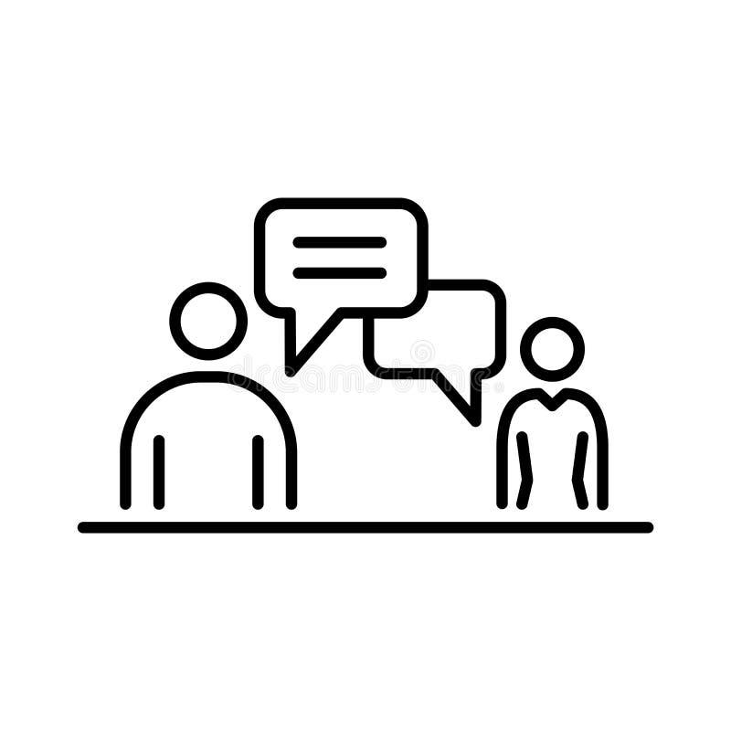 Hombres de negocios de la línea simple ejemplo plano del icono de la conversación de la reunión stock de ilustración