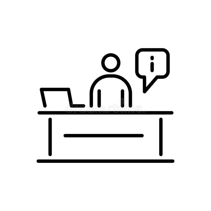 Hombres de negocios de la línea simple ejemplo plano del icono del mostrador de recepción stock de ilustración