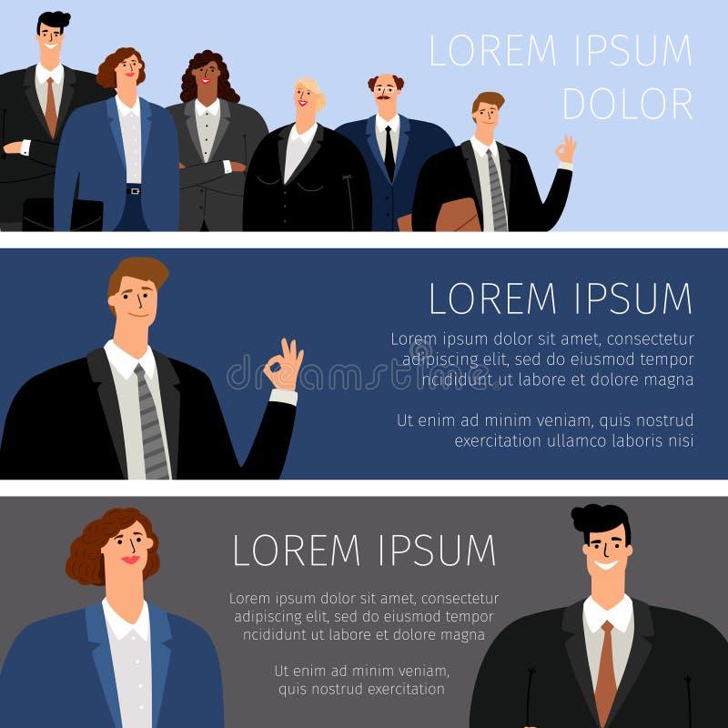 Hombres de negocios de las banderas de la historieta libre illustration